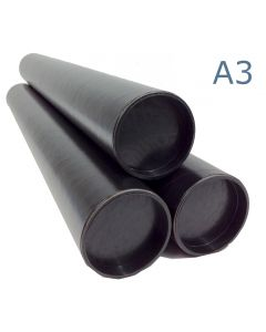 330mm Long - A3 Black Postal Tubes